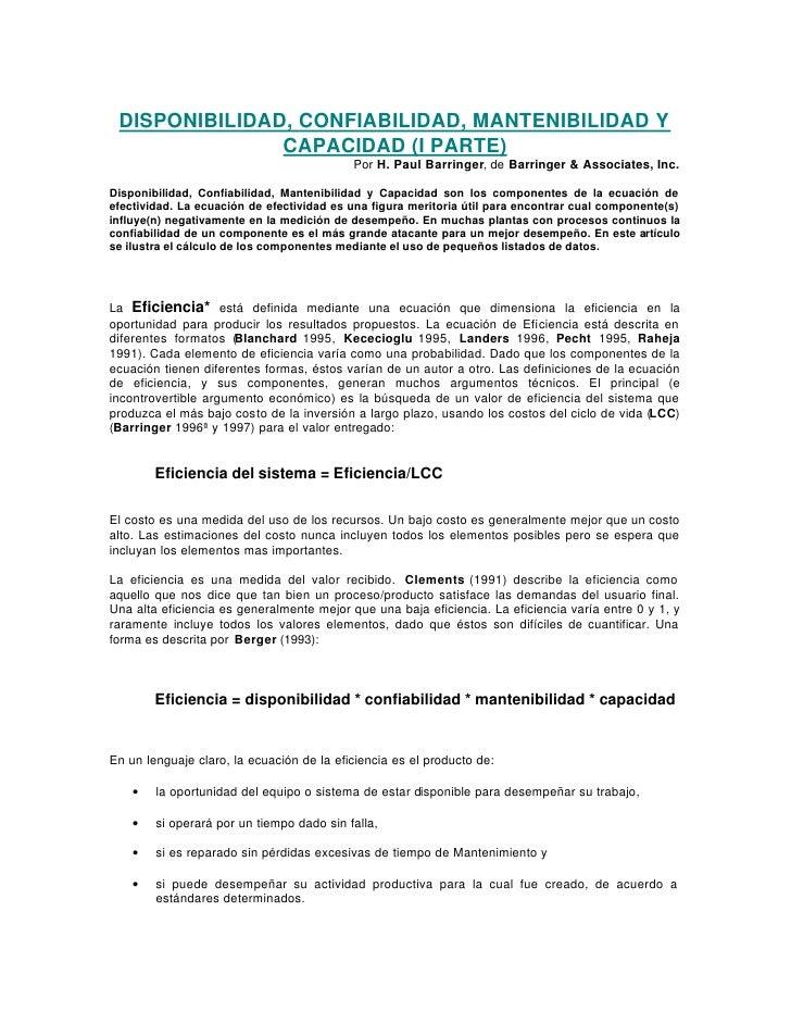 DISPONIBILIDAD, CONFIABILIDAD, MANTENIBILIDAD Y                CAPACIDAD (I PARTE)                                        ...