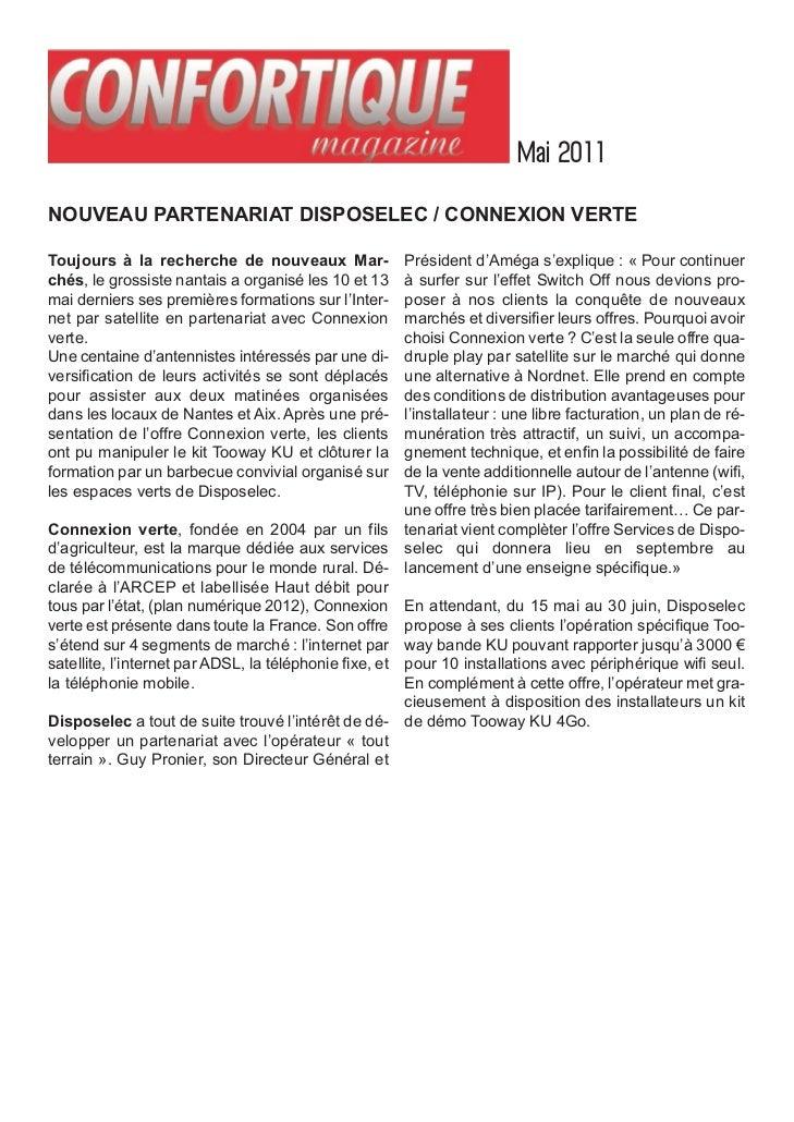 Mai 2011NOUVEAU PARTENARIAT DISPOSELEC / CONNEXION VERTEToujours à la recherche de nouveaux Mar-                 Président...
