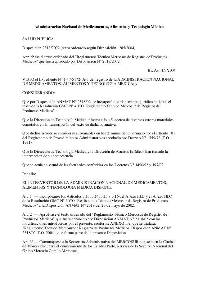 Disposicion anmat 2318-2002