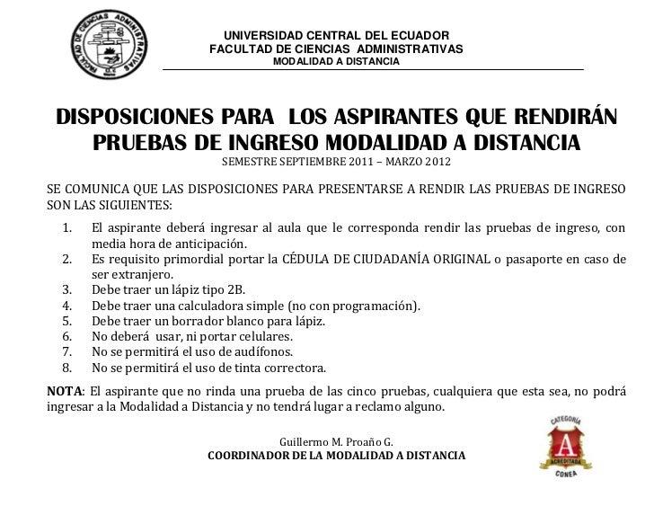 UNIVERSIDAD CENTRAL DEL ECUADOR                           FACULTAD DE CIENCIAS ADMINISTRATIVAS                            ...