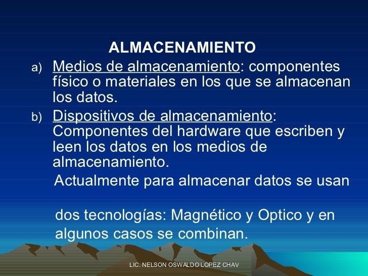 <ul><li>ALMACENAMIENTO </li></ul><ul><ul><li>Medios de almacenamiento : componentes físico o materiales en los que se alma...