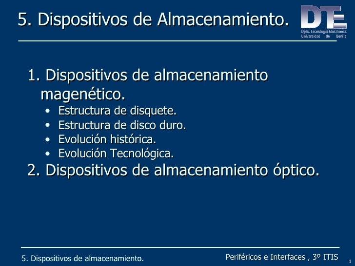 5. Dispositivos de Almacenamiento. 5. Dispositivos de almacenamiento. <ul><li>Dispositivos de almacenamiento magenético. <...