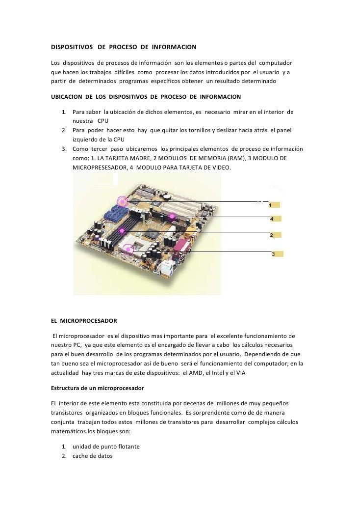 DISPOSITIVOS   DE  PROCESO  DE  INFORMACION<br />Los  dispositivos  de procesos de información  son los elementos o partes...