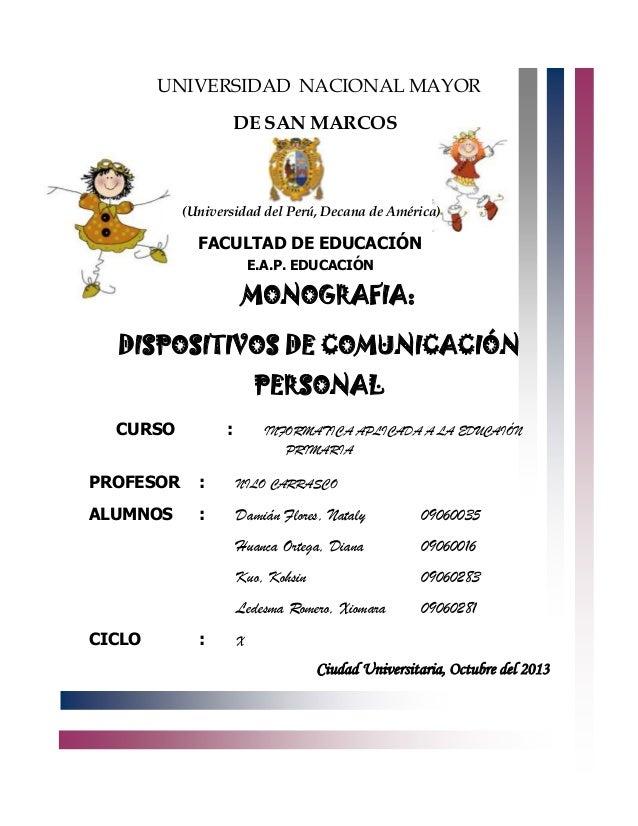 UNIVERSIDAD NACIONAL MAYOR DE SAN MARCOS  (Universidad del Perú, Decana de América)  FACULTAD DE EDUCACIÓN E.A.P. EDUCACIÓ...