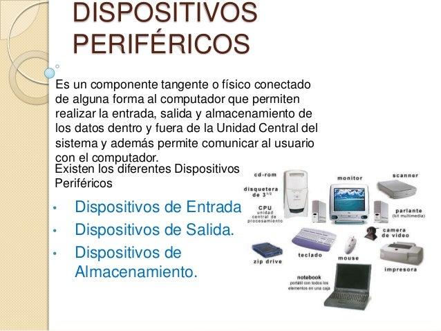 DISPOSITIVOS PERIFÉRICOS Es un componente tangente o físico conectado de alguna forma al computador que permiten realizar ...