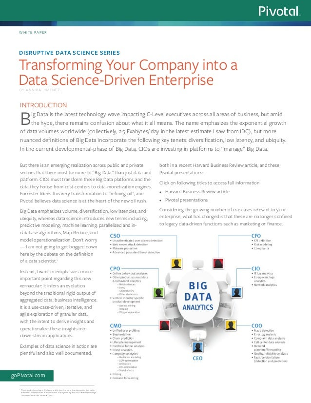 Disruptive Data Science Series: Transforming Your Company into a Data Science-Driven Enterprise