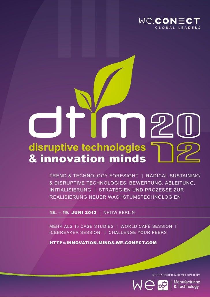 Disruptive Technologies & Innovation Minds 2012 Agenda