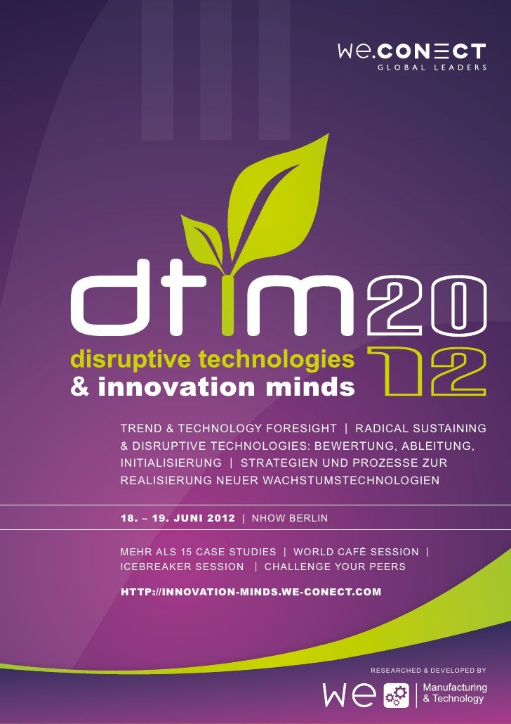 Disruptive Technologies & Innovation Minds 2012 Agenda