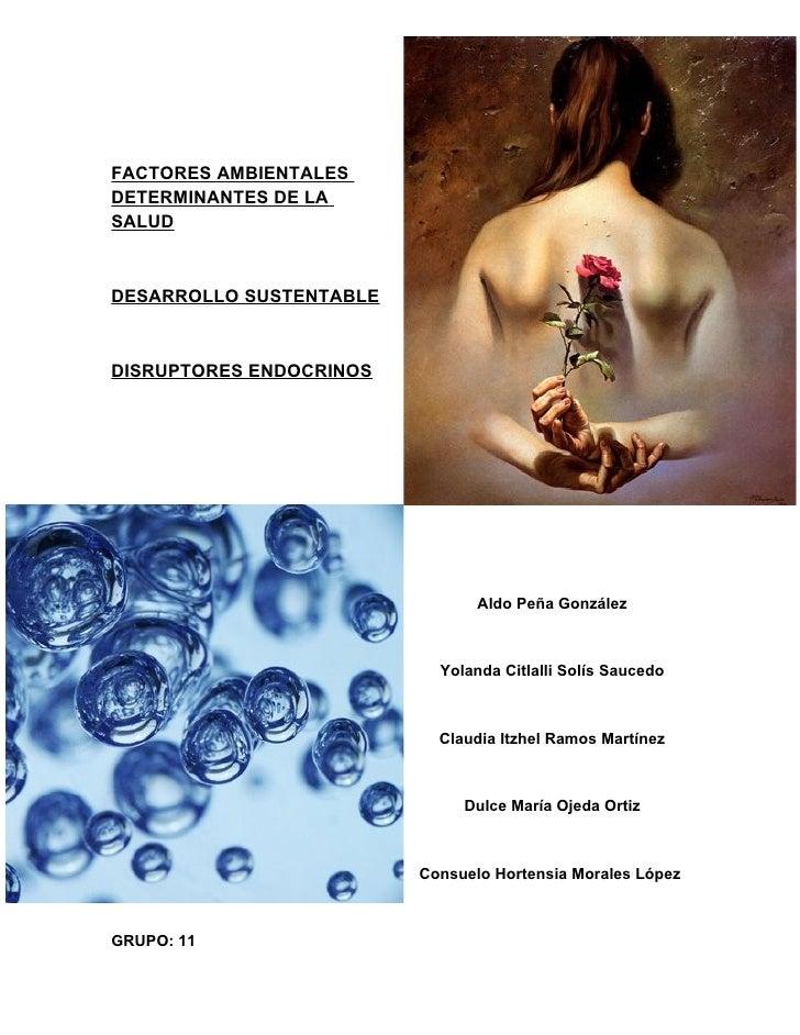 FACTORES AMBIENTALES DETERMINANTES DE LA SALUD    DESARROLLO SUSTENTABLE    DISRUPTORES ENDOCRINOS                        ...