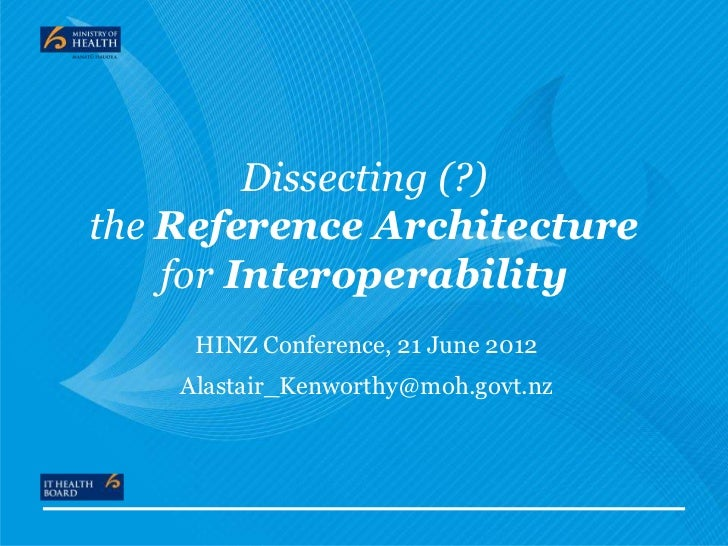 Dissecting (?)the Reference Architecture    for Interoperability     HINZ Conference, 21 June 2012    Alastair_Kenworthy@m...