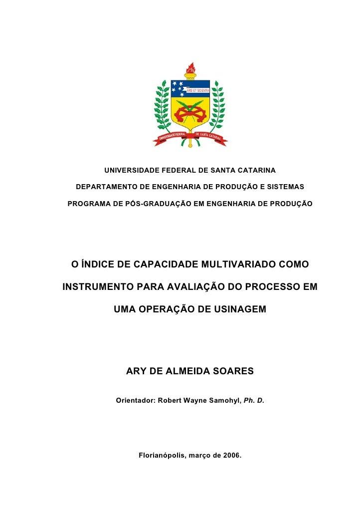 UNIVERSIDADE FEDERAL DE SANTA CATARINA    DEPARTAMENTO DE ENGENHARIA DE PRODUÇÃO E SISTEMAS  PROGRAMA DE PÓS-GRADUAÇÃO EM ...