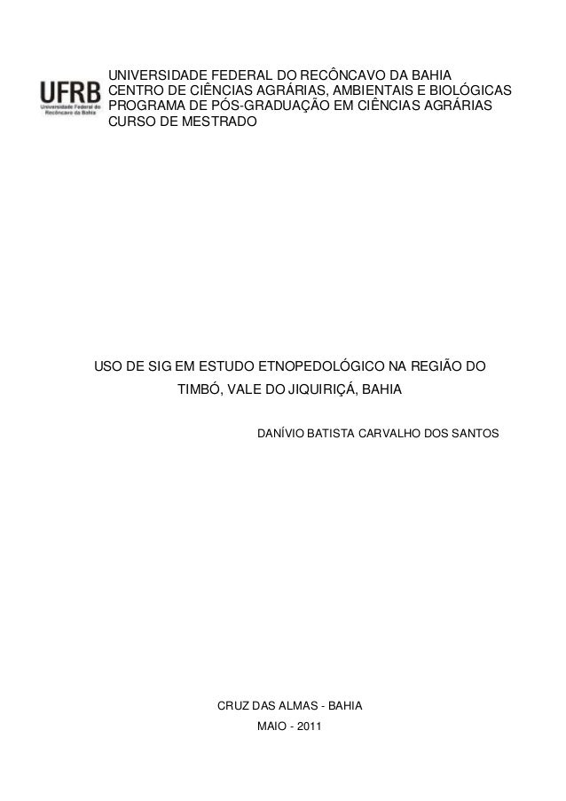 UNIVERSIDADE FEDERAL DO RECÔNCAVO DA BAHIA CENTRO DE CIÊNCIAS AGRÁRIAS, AMBIENTAIS E BIOLÓGICAS PROGRAMA DE PÓS-GRADUAÇÃO ...