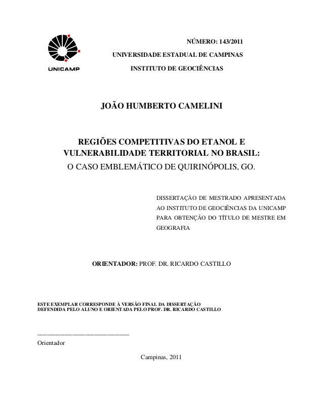 NÚMERO: 143/2011                          UNIVERSIDADE ESTADUAL DE CAMPINAS                                INSTITUTO DE GE...
