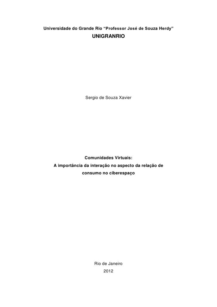 "Universidade do Grande Rio ""Professor José de Souza Herdy""                     UNIGRANRIO                  Sergio de Souza..."