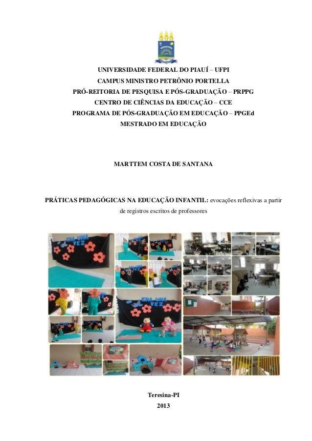 Dissertação prática pedagógica na educação infantil Marttem Costa de Santana
