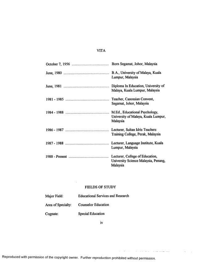 Thesis vita page