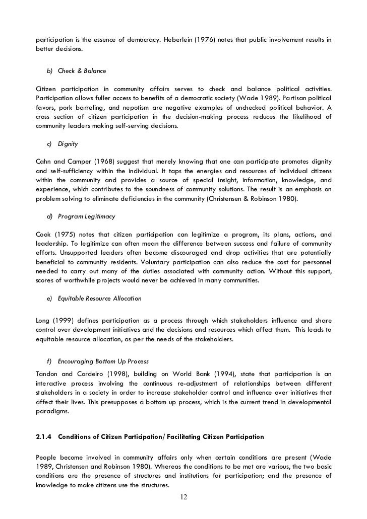 participatory development essay Participatory development essay examples 1 total result an analysis of the development of a country and the concept of the basic economic system 476 words 1 page.