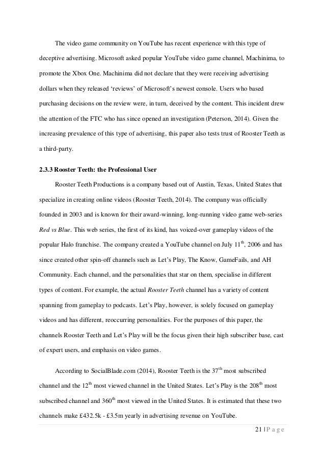 Online gaming dissertation