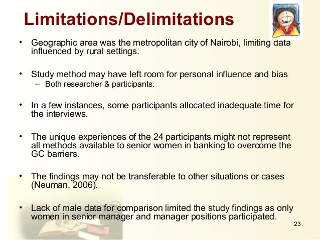 delimitation in thesis Scope and delimitations march 14, 2009 march 14, 2009 admin thesis writing it is important to narrow down your thesis topic and limit the scope of your study the researcher should inform the reader about limits or coverage of the study the scope identifies the boundaries of the study in term of subjects, objectives, facilities, area, time.