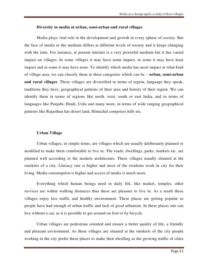 Essay on the Life in an Indian Village