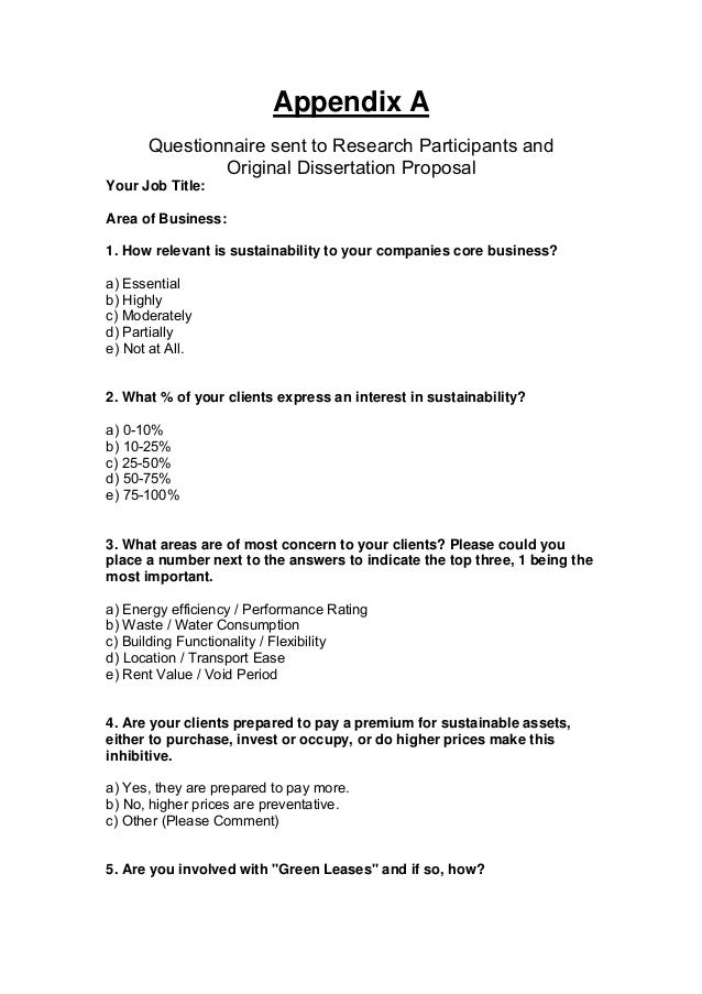 Thesis Survey Questionnaire Sample Pictures