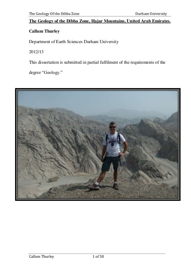 The Geology Of the Dibba Zone Durham University Callum Thurley 1 of 50 The Geology of the Dibba Zone, Hajar Mountains, Uni...