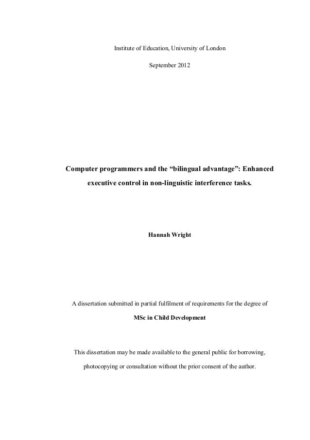 """Institute of Education, University of London September 2012 Computer programmers and the """"bilingual advantage"""": Enhanced e..."""