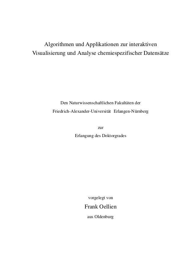 Algorithmen und Applikationen zur interaktiven Visualisierung und Analyse chemiespezifischer Datensätze  Den Naturwissensc...