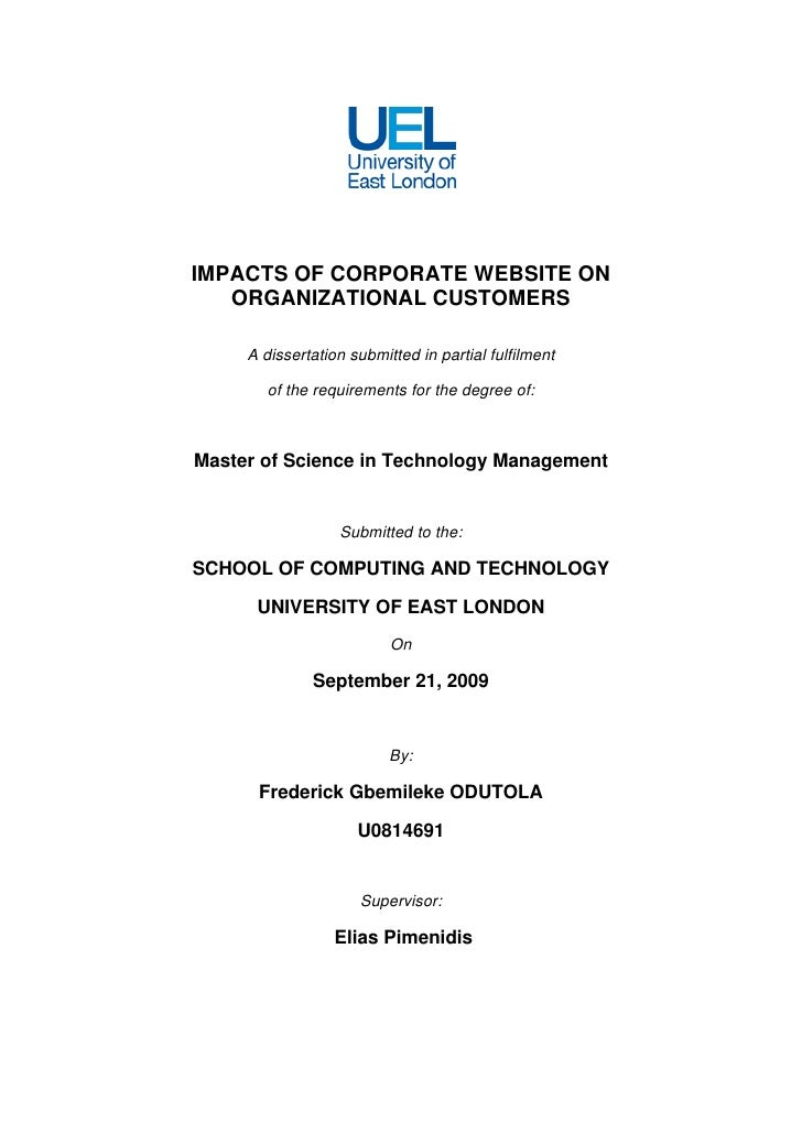 IMPACTS OF CORPORATE WEBSITE ON    ORGANIZATIONAL CUSTOMERS       A dissertation submitted in partial fulfilment          ...