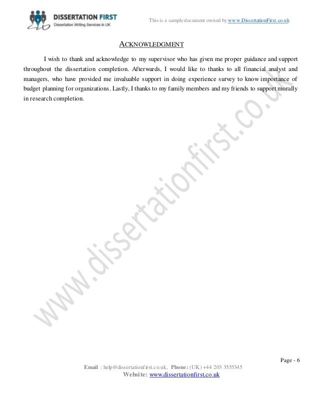 Acknowledgements dissertation uk