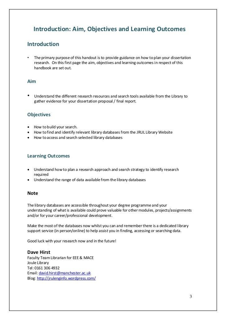 Dissertation writing help objectives