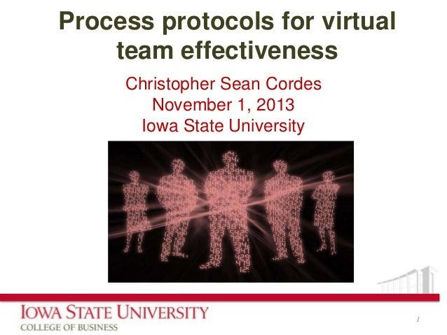 Process protocols for virtual team effectiveness Christopher Sean Cordes November 1, 2013 Iowa State University  1