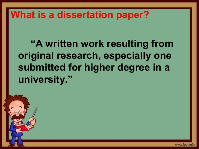 What is a dissertation paper