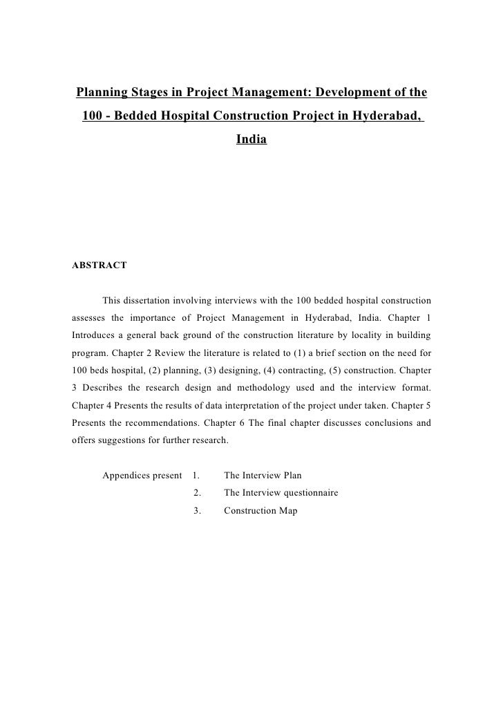 Planning Stages in Project Management: Development of the   100 - Bedded Hospital Construction Project in Hyderabad,      ...
