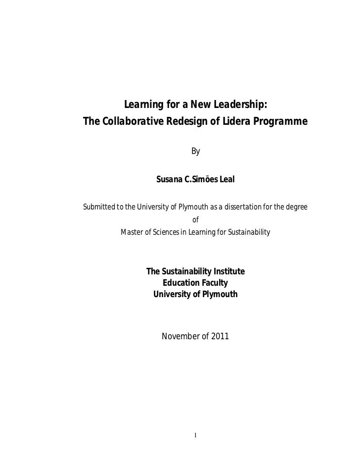 Learning for a New Leadership:The Collaborative Redesign of Lidera Programme                                   By         ...