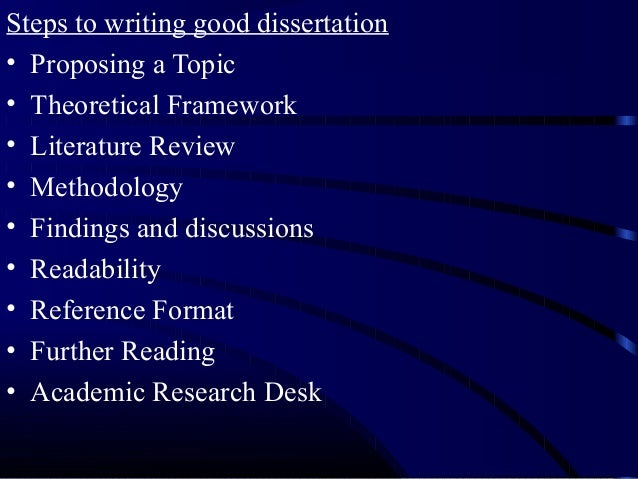 Steps to writing a dissertation