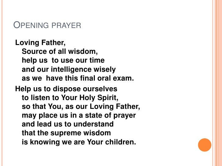 prayer for final defense thesis