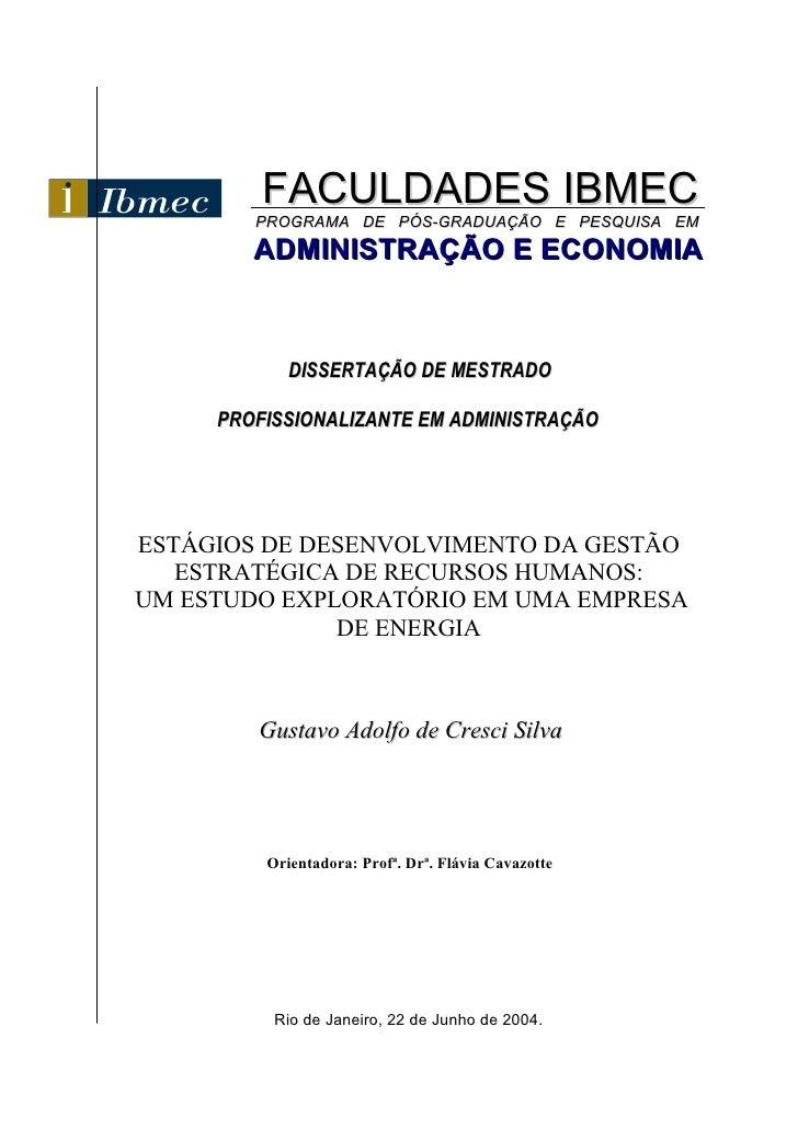 FACULDADES IBMEC         PROGRAMA DE PÓS-GRADUAÇÃO E PESQUISA EM         ADMINISTRAÇÃO E ECONOMIA                DISSERTAÇ...