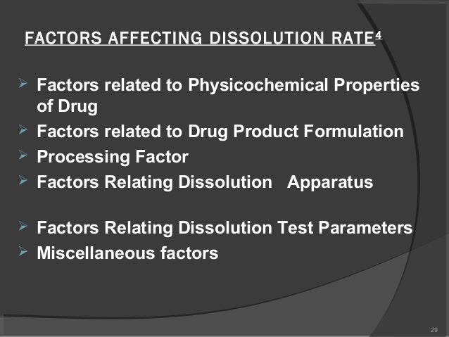 factors that affect rate of dissolving Dissolution and solubility published on 08/02/2015 by admin this chapter discusses the principles underlying the formation of solutions from solute and solvent and the factors that affect the rate and extent of the dissolution process factors affecting the rate of dissolution.