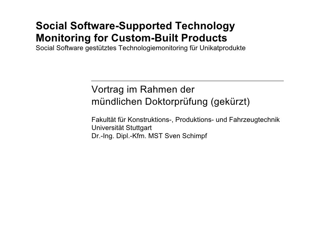 Social Software-Supported Technology Monitoring for Custom-Built Products Social Software gestütztes Technologiemonitoring...