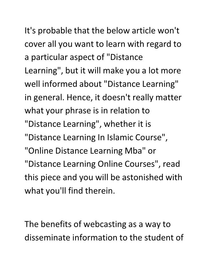 Distance Learning - Which Information Should You Believe?