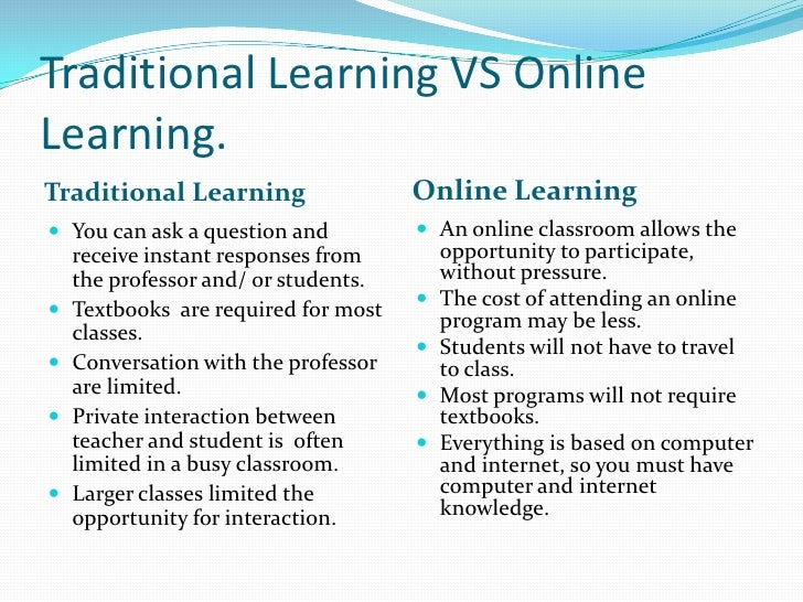 distance learning versus traditional learning essay International journal for the scholarship of teaching and learning volume 9|number 1 article 5 january 2015 learning outcomes in an online vs traditional.