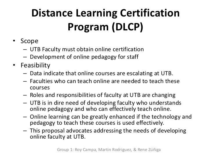 Distance learning certification program (dlcp)