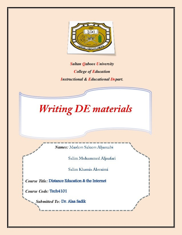 Distance learning material