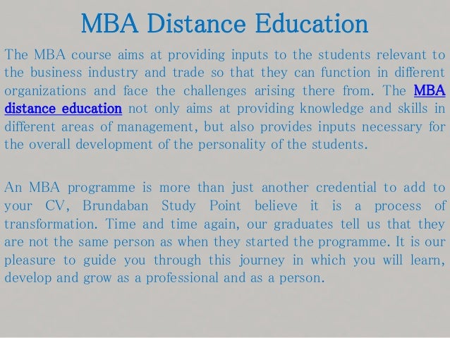 Doing distance MBA at this point?