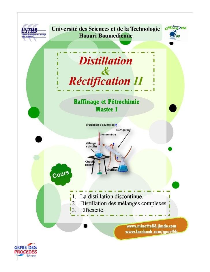 Distillation II cours