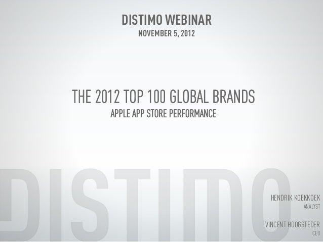 Distimo Month Report Webinar November 2012 (Top Global Brands)