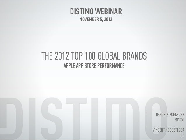 Distimo Month Report Webinar November 2012 (Top Global Brands)