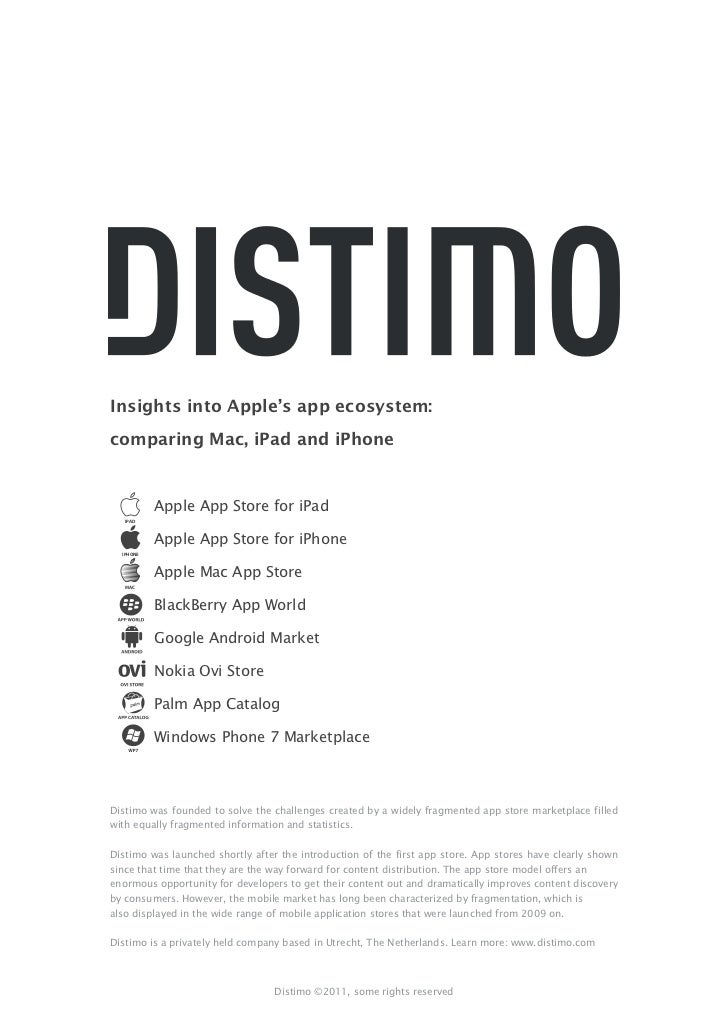 Distimo insights into apple app ecosystem comparing mac i pad and iphone