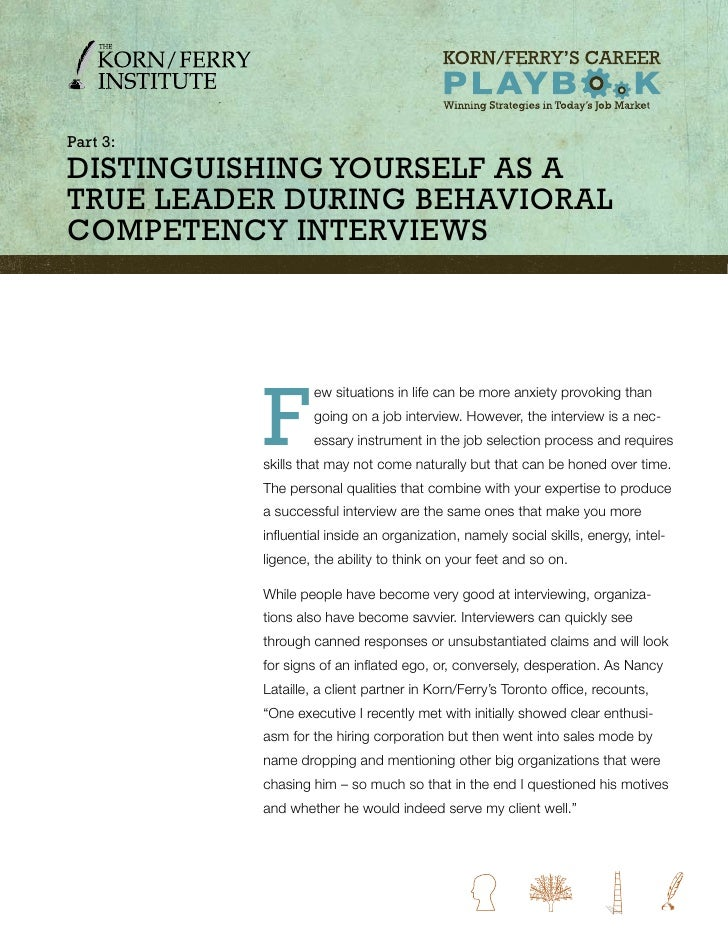 part 3: Distinguishing YourselF as a true leaDer During Behavioral CompetenCY interviews               F                  ...